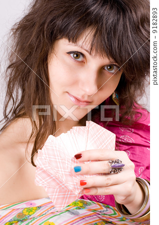 soothsayer with scrying cards 9182893