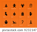 Christmas icons on orange background. 9232147