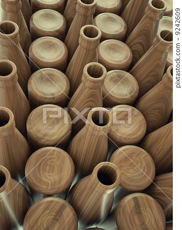 Storage of empty wooden bottles for wine or beer 9242609