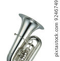 Large silver brass tuba on white background 9246749