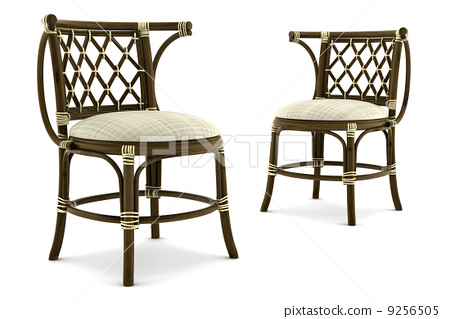 two brown rattan chairs isolated on white background 9256505