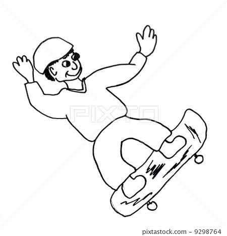 monster skateboard evil hero hand drawing isolated 9298764