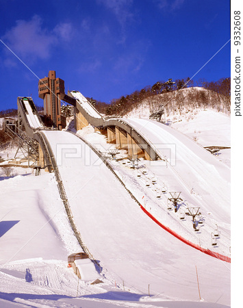 Stock Photo: jump stand (for skiing), skiing, winter