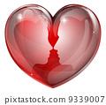 Couple faces heart 9339007