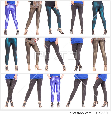 Collage woman's sexy legs and buttocks clad in shimmering leggin 9342994