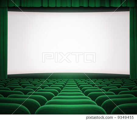 Cinema Screen With Open Green Curtain And Seats Stock Illustration 9349455 Pixta