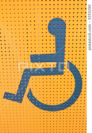 Handicap access on yellow background 9353290