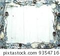 雪の結晶とキャンドルのフレーム 9354716