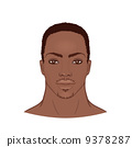 Young African American man's face. 9378287