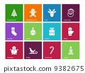 Christmas icons on color background. 9382675
