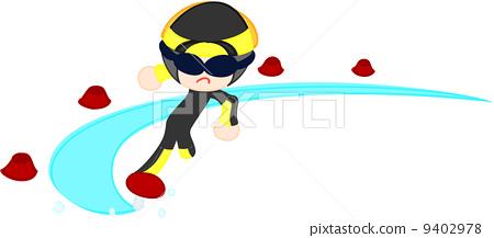 輕快滑行的速滑運動員 9402978