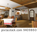 Modern cafe in Russian's style 3D rendering 9409860