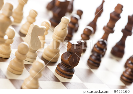 Up chess board and pieces 9423160