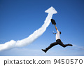jumping businessman with business growing graph cloud 9450570