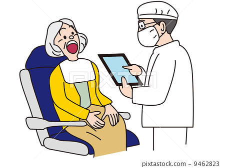 A dentist and an old man using a tablet chart 9462823