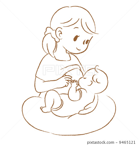 Mother and baby breastfeeding line drawing 9465121