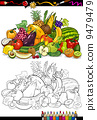 coloring, vegetables, book 9479479