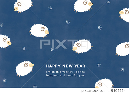 New Year card postcard size sheep Illustrated 9505554