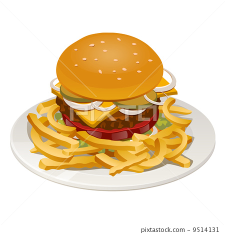 illustration of burger with fries, tomato, onion and cheese 9514131