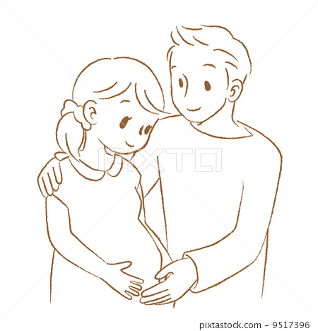 Mom And Dad And Baby Pregnant Line Drawing Stock Illustration 9517396 Pixta