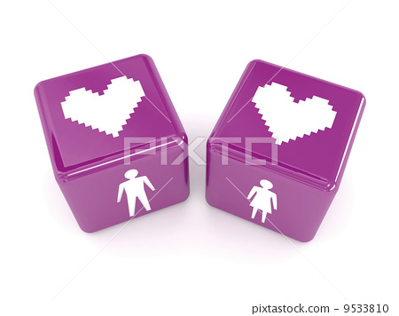 Two hearts, male and female figures on dices. Concept 3D illustration. 9533810