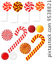 Vector set with different red and white candies 9538821