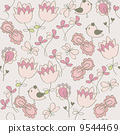 Seamless pattern with flowers and birds. Cute seamless. 9544469
