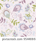 Seamless pattern with flowers and birds. Cute seamless. 9544886