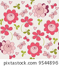 Seamless pattern with flowers, butterfly and hearts 9544896