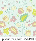 Seamless pattern with flowers and birds. Cute seamless. 9544903