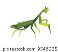 Origami green praying mantis 9546235