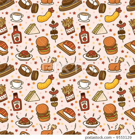 fast food, wallpaper, design stock illustration [9553129] pixta
