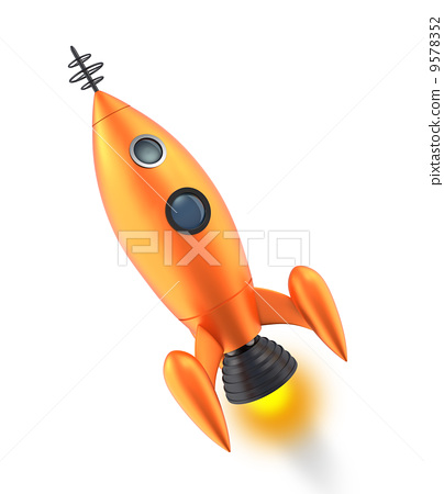 Yellow retro rocket - Stock Illustration [9578352] - PIXTA