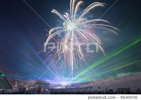 Fireworks at ski resort 9640656