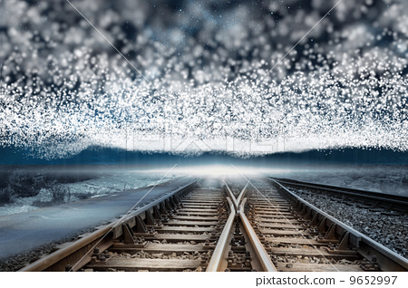 Train tracks under blanket of bright stars 9652997