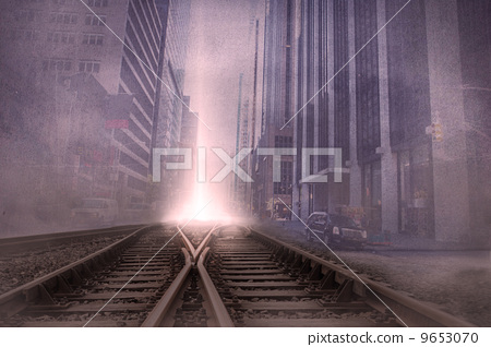 Cityscape projection over train tracks 9653070