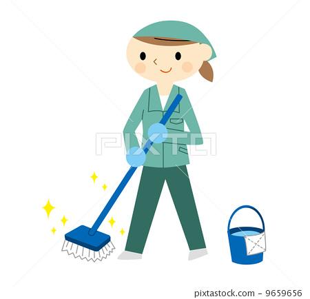 插圖素材: 工服 拖把 清潔人員