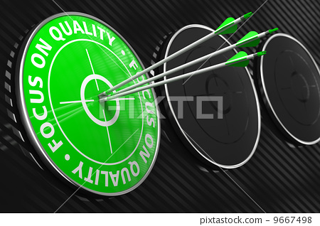 Focus on Quality Slogan - Green Target. 9667498