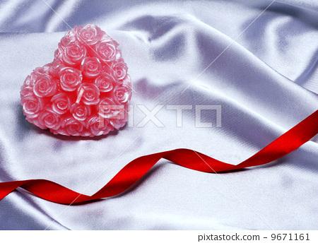 Valentine Heart on satin background 9671161