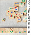 top view of wooden tiles of mahjong desk game 9675505