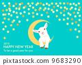 羊羔和滿天星斗的天空藍綠色背景與附件 9683290