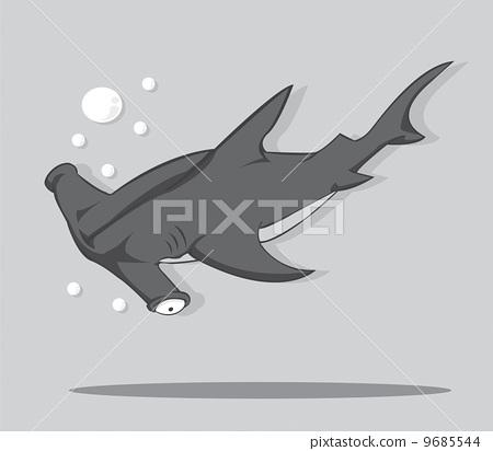 Cartoon Hammer fish shark. vector and illustration 9685544