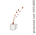 Musical score of a melody rising from coffee 9691486