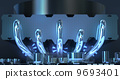 Electronic circuit board and fan on radiator, Background out of focus 9693401