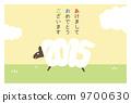 新年的卡片地平線(帶邊框)日語 9700630