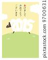 新年卡垂直(帶邊框)日文 9700631