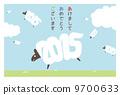 新年的卡片地平線(帶邊框)日語 9700633