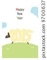 新年賀卡垂直(帶邊框)英文 9700637