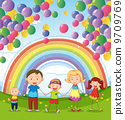 A happy family under the floating balloons with a rainbow 9709769