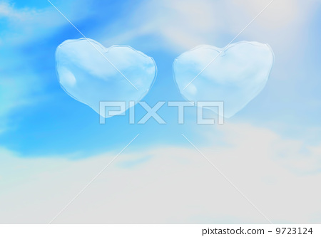 two, hearts, clouds. 9723124